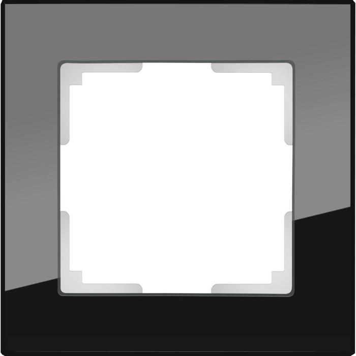 Рамка на 1 пост  WL01-Frame-01, цвет черный, материал стекло