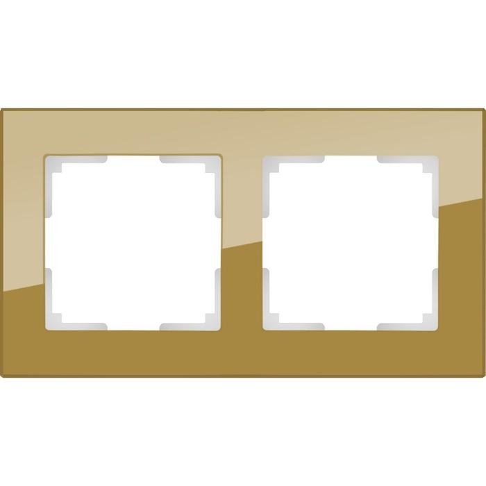 Рамка на 2 поста  WL01-Frame-02, цвет бронзовый, материал стекло