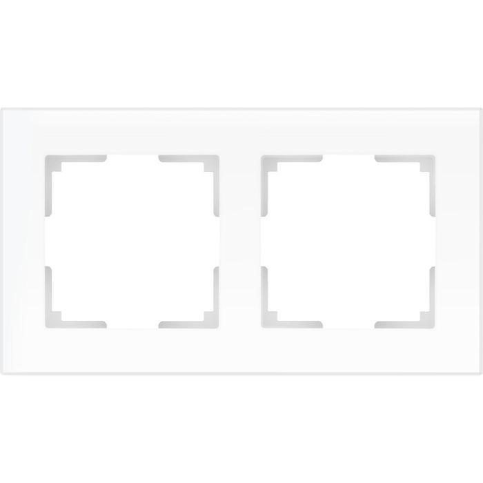 Рамка на 2 поста  WL01-Frame-02, цвет белый матовый, материал стекло