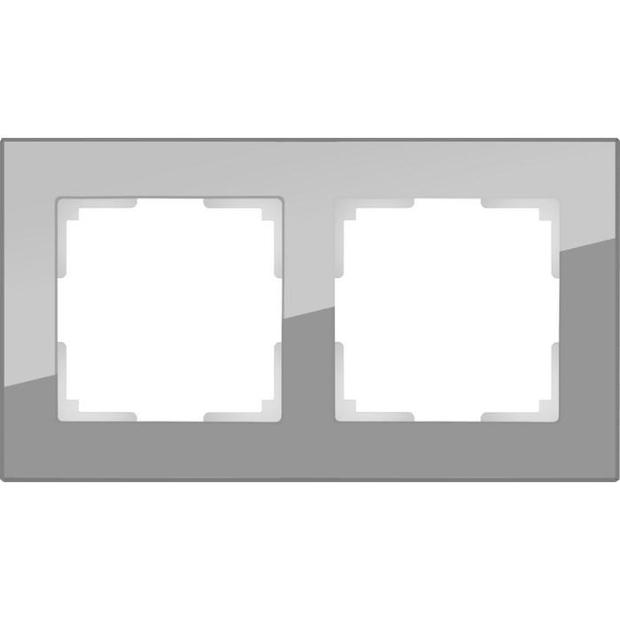 Рамка на 2 поста  WL01-Frame-02, цвет серый, материал стекло