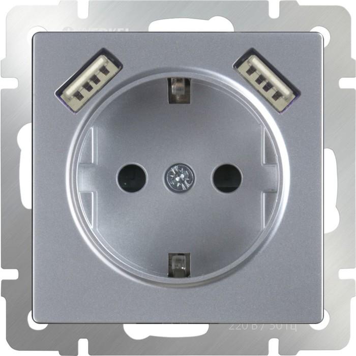 Розетка с заземлением, шторками и USBх2  WL06-SKGS-USBx2-IP20, цвет серебряный