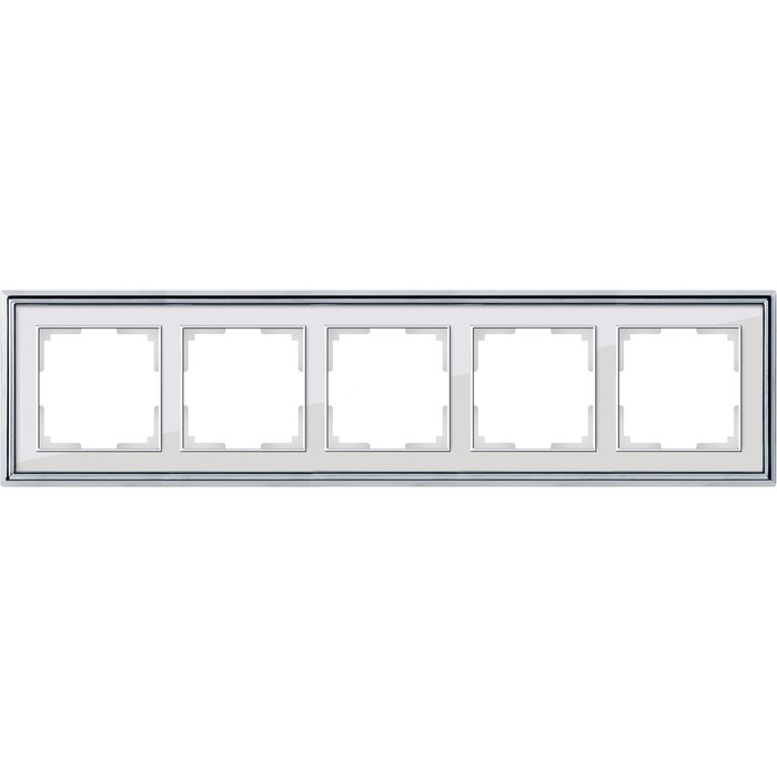 Рамка на 5 постов  WL17-Frame-05, цвет белый, хром