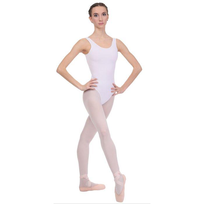 Купальник гимнастический, на лямках, размер 34, цвет белый