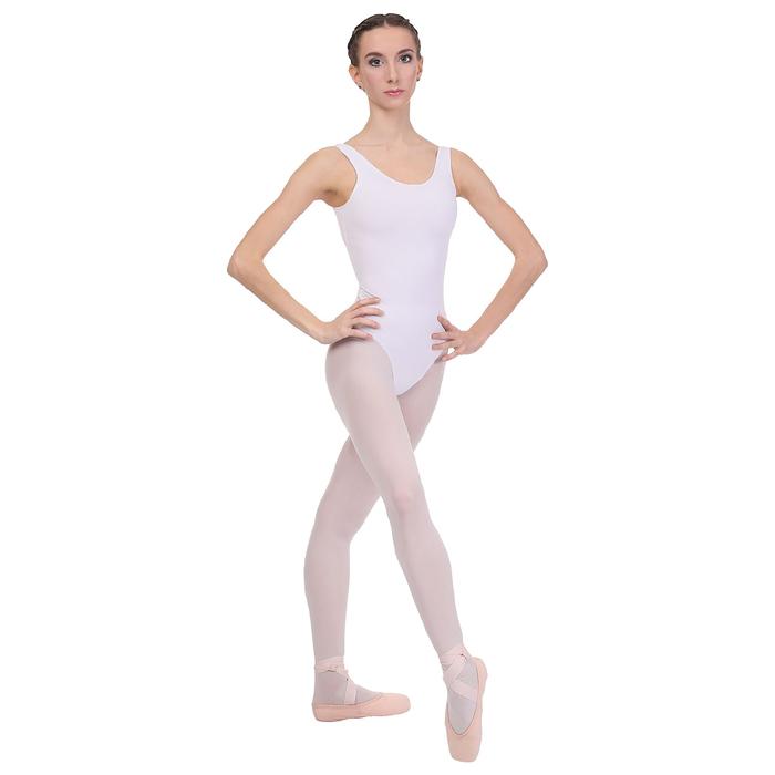 Купальник гимнастический, на лямках, размер 30, цвет белый