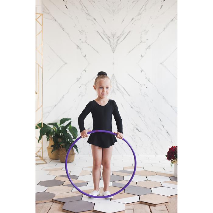 Купальник гимнастический с юбкой, с длинным рукавом, размер 32, цвет чёрный