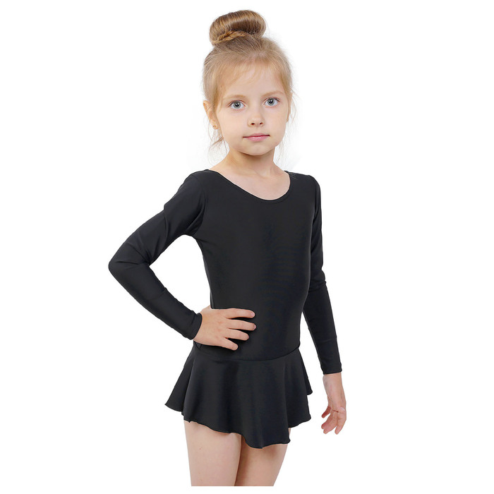 Купальник гимнастический с юбкой, с длинным рукавом, размер 30, цвет чёрный