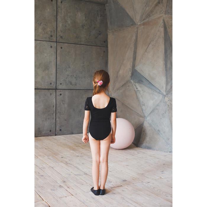 Купальник гимнастический, кокетка и короткий рукав гипюр, размер 30, цвет чёрный