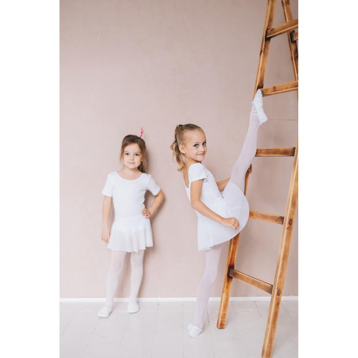 Купальник для хореографии х/б, короткий рукав, юбка-сетка, размер 30, цвет белый