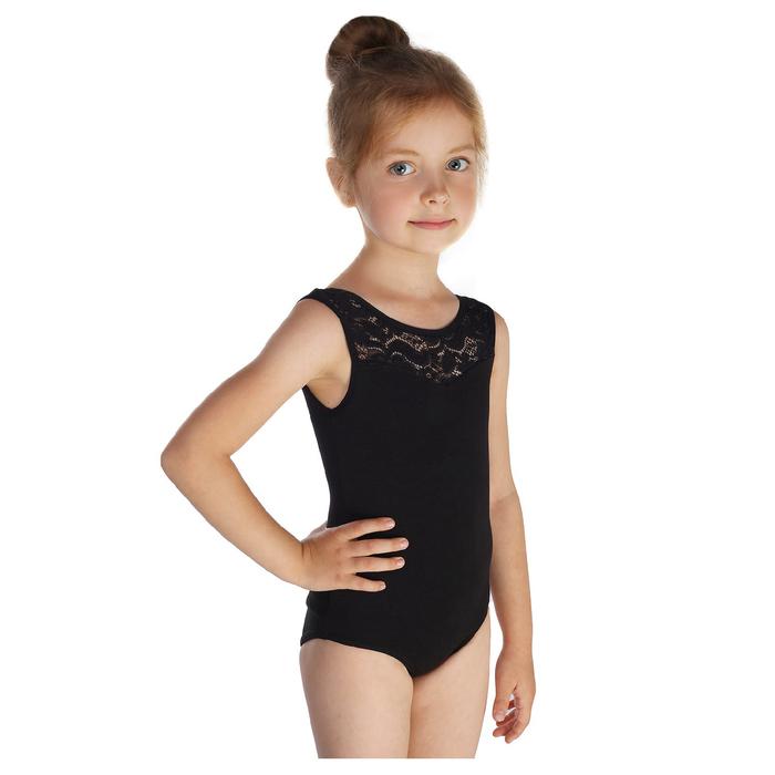 Купальник гимнастический, кокетка кружево, без рукава, размер 38, цвет чёрный