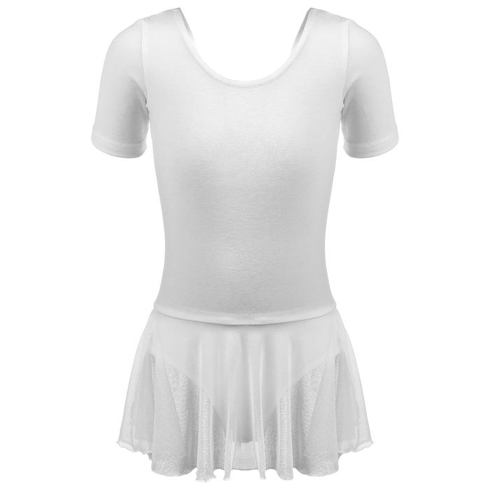 Купальник для хореографии х/б, короткий рукав, юбка-сетка, размер 32, цвет белый