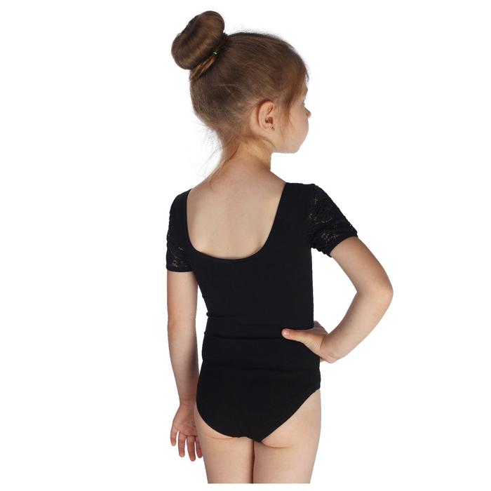 Купальник гимнастический, кокетка и короткий рукав гипюр, размер 36, цвет чёрный