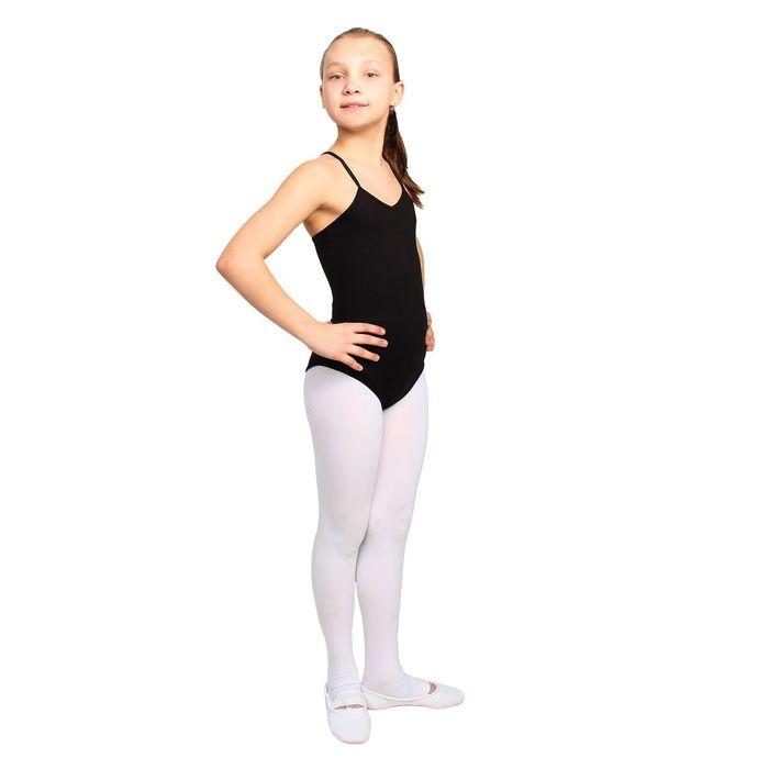 Купальник для гимнастики и танцев, на бретелях, размер 34, цвет чёрный