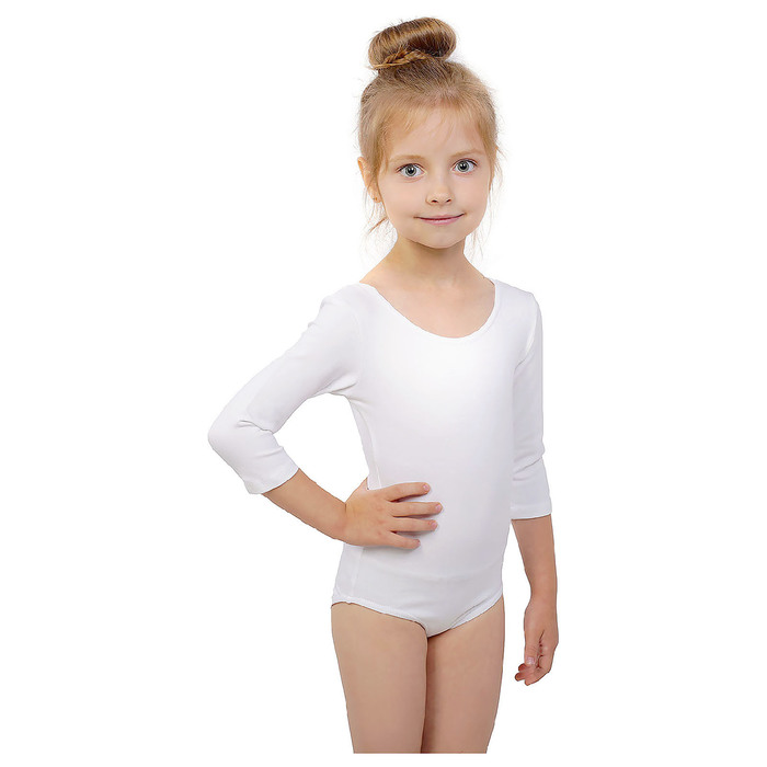 Купальник гимнастический, рукав 3/4, размер 34, цвет белый