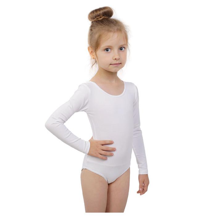 Купальник гимнастический, с длинным рукавом, размер 34, цвет белый