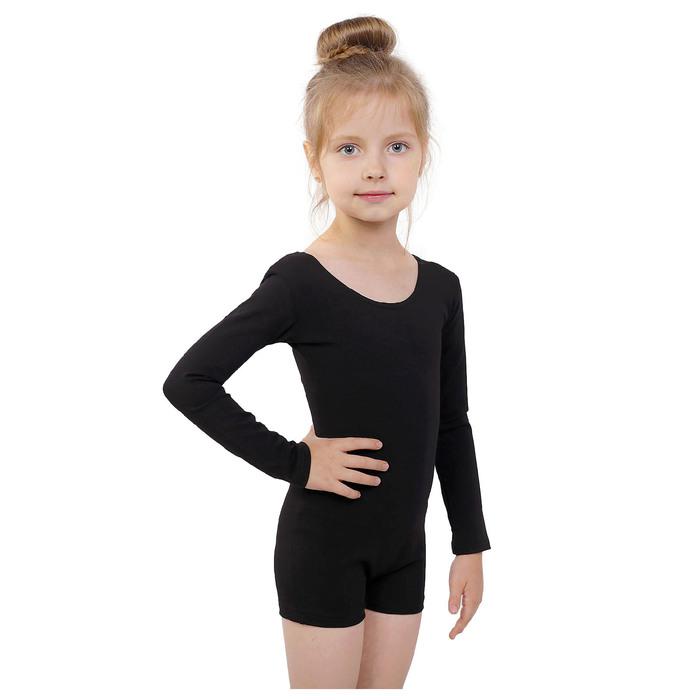 Купальник-шорты, с длинным рукавом, размер 38, цвет чёрный