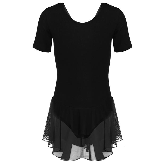 Купальник для хореографии х/б, короткий рукав, юбка-сетка, размер 32, цвет чёрный
