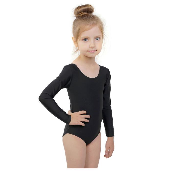 Купальник гимнастический, с длинным рукавом, размер 40, цвет чёрный
