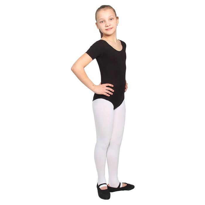 Купальник гимнастический, с коротким рукавом, размер 30, цвет чёрный