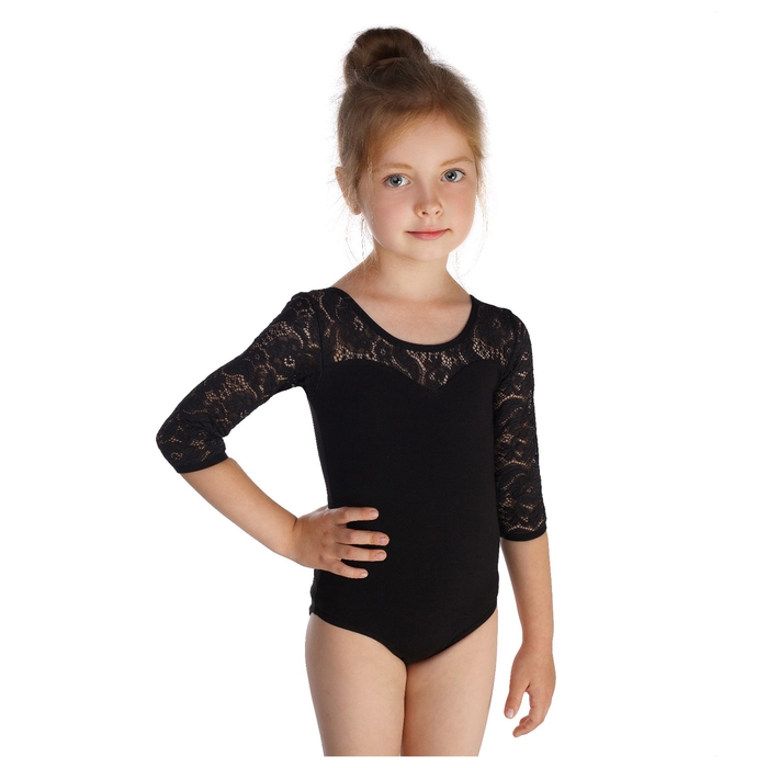 Купальник гимнастический, кокетка и рукав 3/4 гипюр, размер 38, цвет чёрный