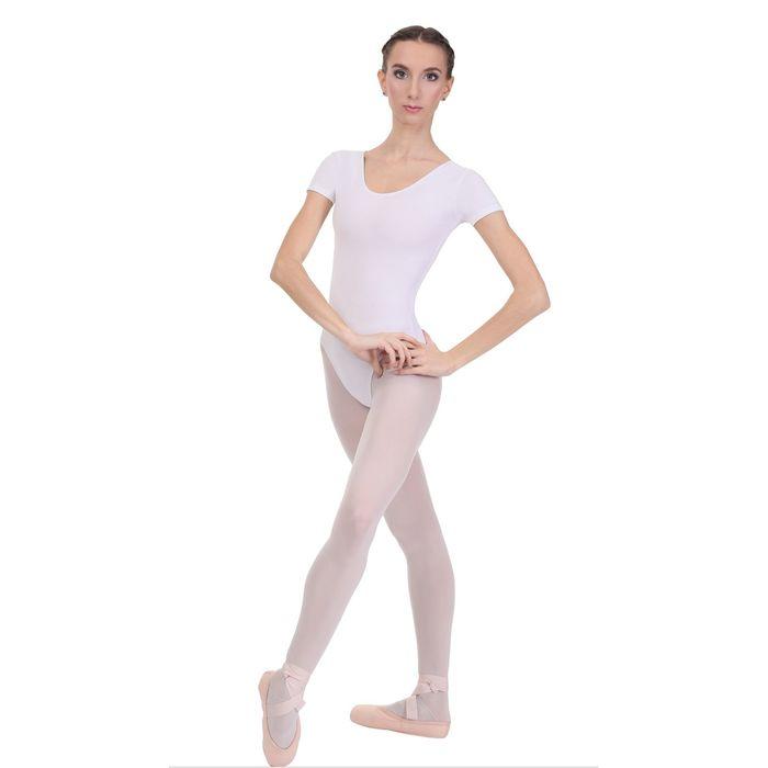 Купальник гимнастический, с коротким рукавом, размер 34, цвет белый