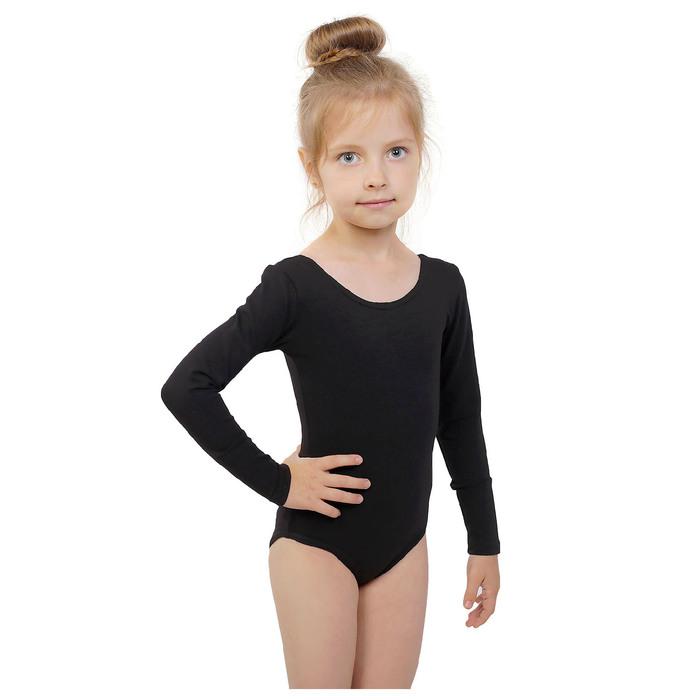 Купальник гимнастический, с длинным рукавом, размер 28, цвет чёрный