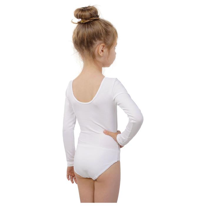 Купальник гимнастический, с длинным рукавом, размер 30, цвет белый