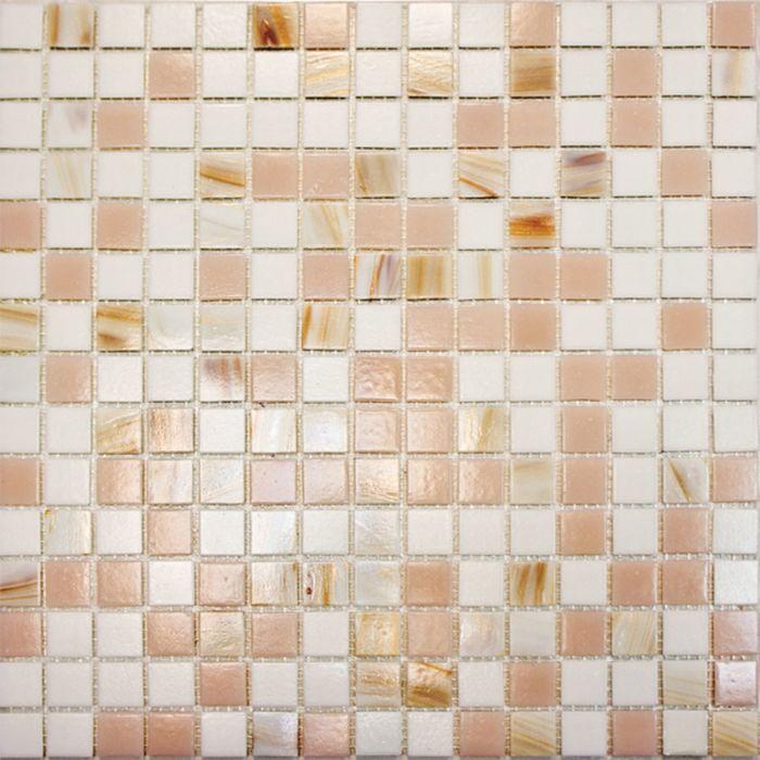Mозаика стеклянная Elada Mosaic HK-13, бело-розовая, 327х327х4 мм