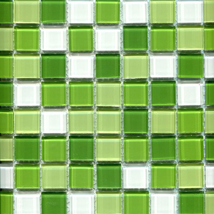 Elada Mosaic Мозаика CB606 (300х300х4 мм) бело-зелёный микс (в наборе 1,07 м2)
