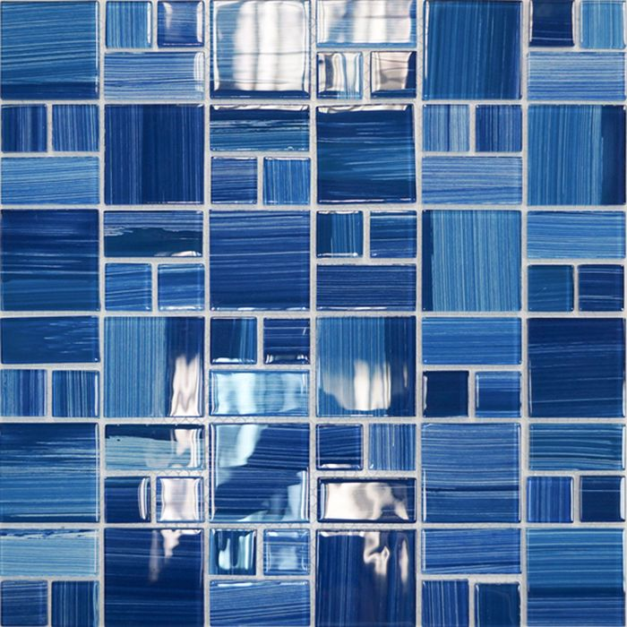 Elada Mosaic Мозаика JSM-CH1022 (300х300х4 мм) лазурная полосатая mix size (в наборе 1,07 м2)