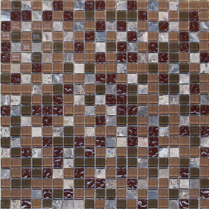 Mозаика стеклянная Elada Mosaic HK-49 Crystal+Stone, сливовая, 327х327х4 мм