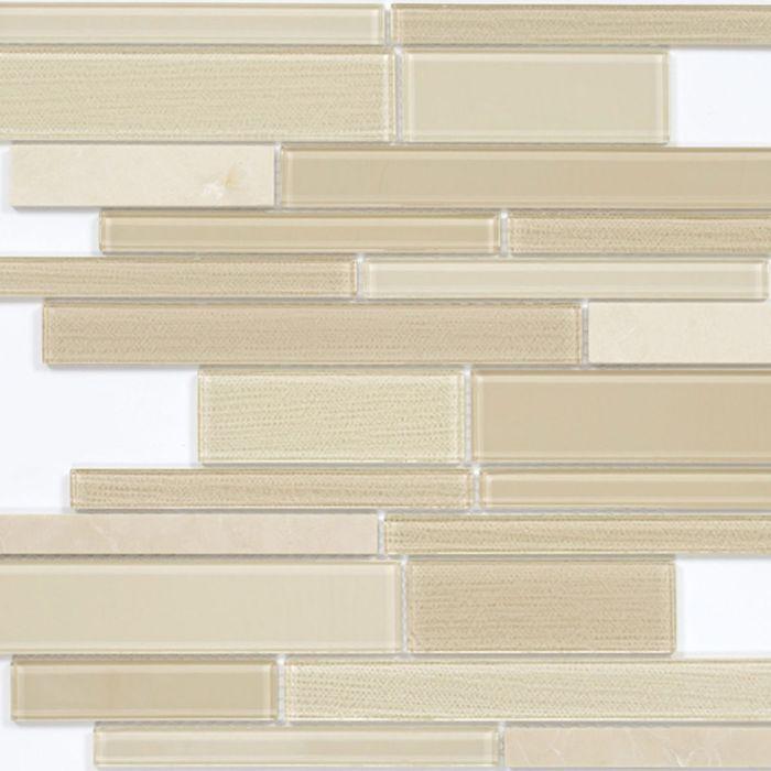 Mозаика стеклянная Elada Mosaic N52, светло-бежевая long size Crystal+Stone, 286х298х4 мм