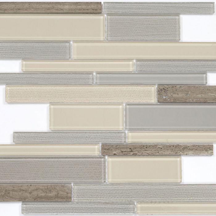 Mозаика стеклянная Elada Mosaic N54, песочно-серая long size Crystal+Stone, 286х298х4 мм