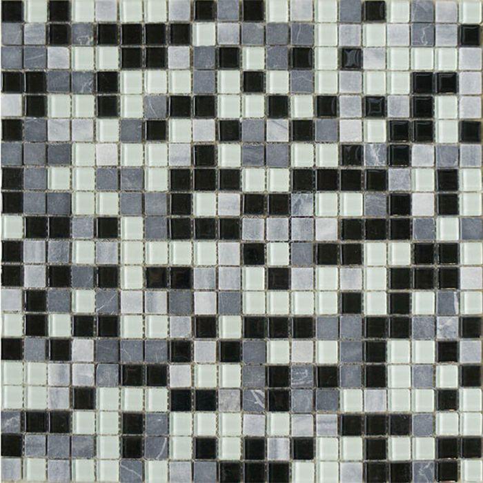 Mозаика стеклянная Elada Mosaic HK-44 Crystal+Stone, мраморная, 327х327х4 мм