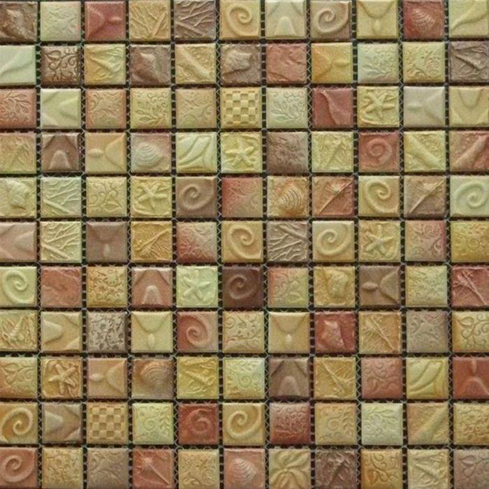Мозаика керамическая Elada Mosaic SН-W2512, жёлто-коричневая морская, 300х300х6 мм