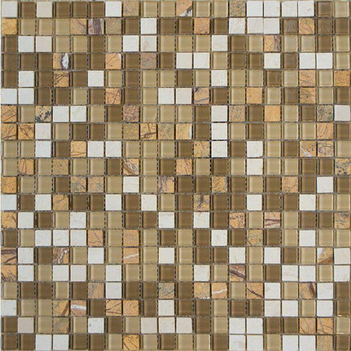 Mозаика стеклянная Elada Mosaic HK-42 Crystal+Stone, песочная, 327х327х4 мм
