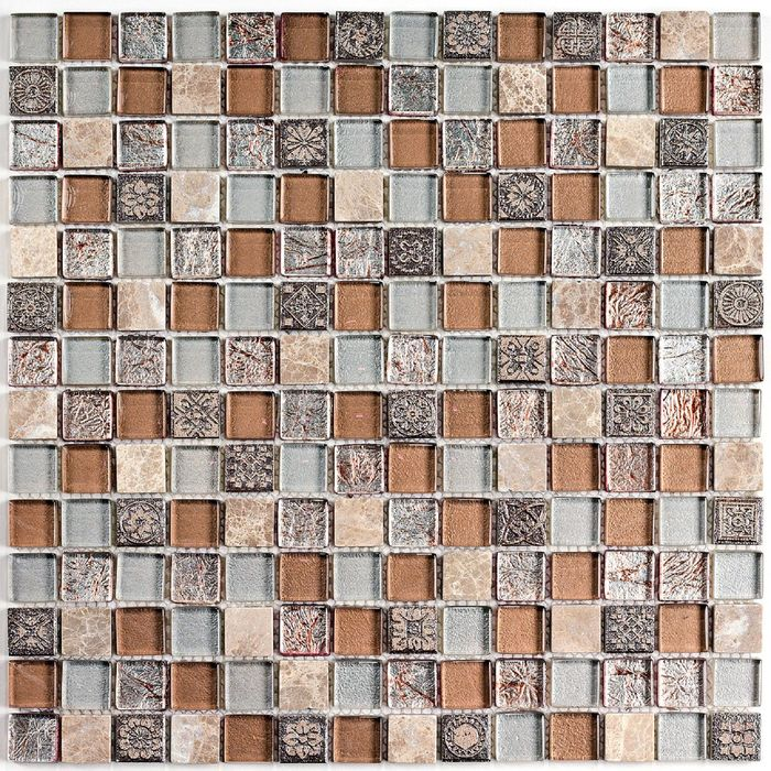 Мозаика стеклянная с камнем Bonaparte, Fantasy 306х306х8 мм