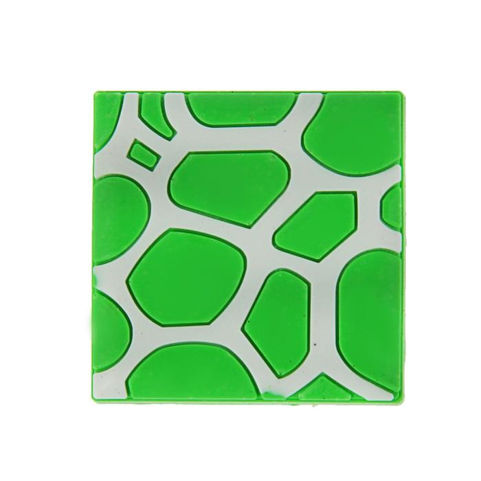 """Ручка кнопка детская KID 018, """"Пятна"""", резиновая, зеленая"""