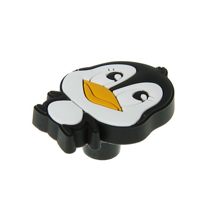 """Ручка кнопка детская KID 012, """"Пингвиненок"""", резиновая, черная"""