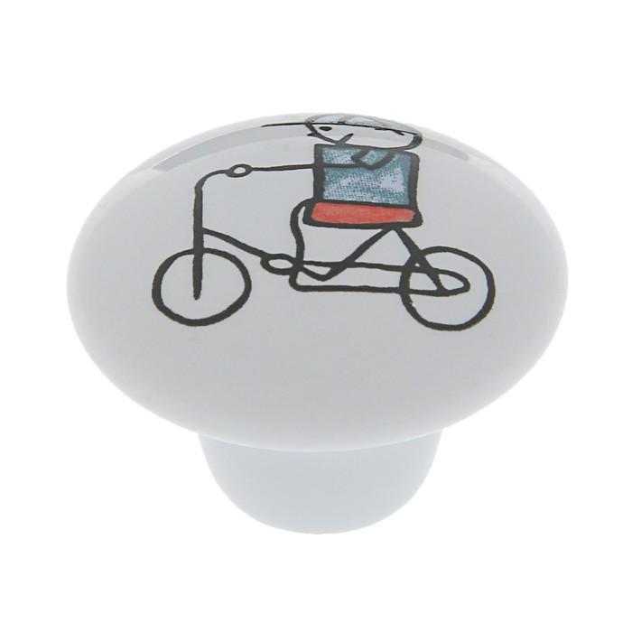 Ручка-кнопка Ceramics KID 046, керамическая, белая с принтом