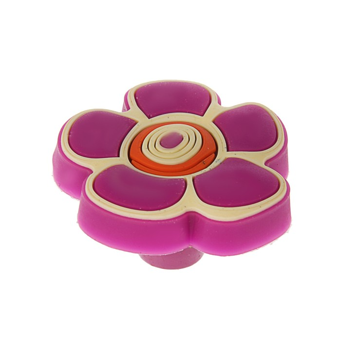 """Ручка кнопка детская KID 024, """"Цветочек 2"""", резиновая, фиолетовая"""