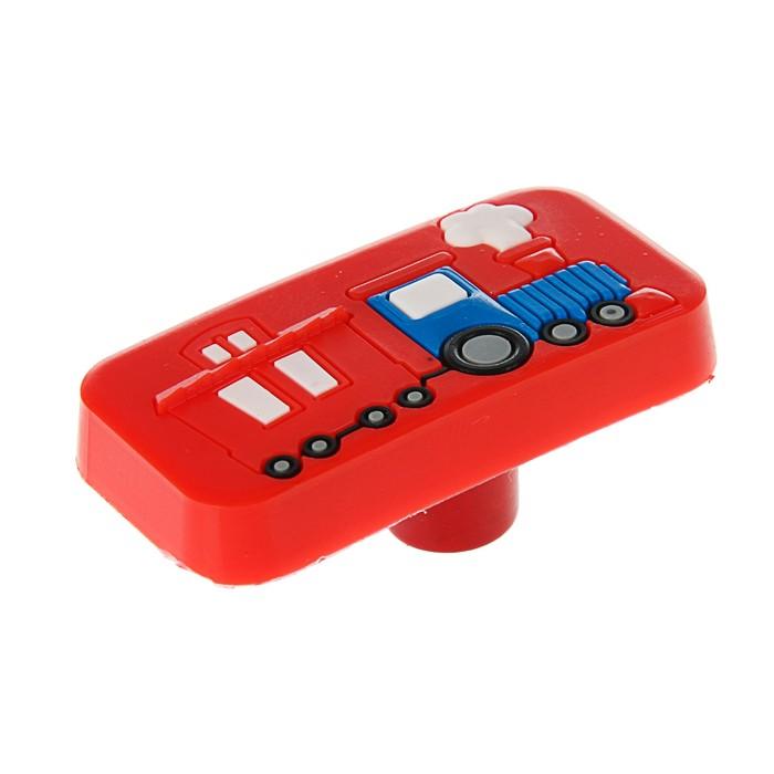 """Ручка кнопка детская KID 033, """"Паровозик"""", резиновая, красная"""