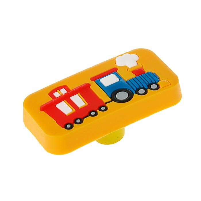 """Ручка кнопка детская KID 033, """"Паровозик"""", резиновая, желтая"""