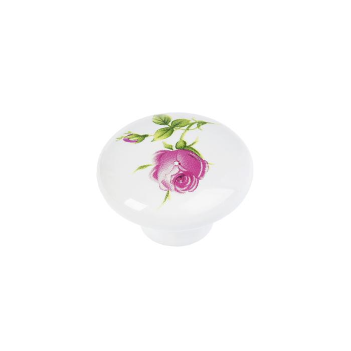Ручка кнопка Ceramics 004, керамическая, белая с рисунком