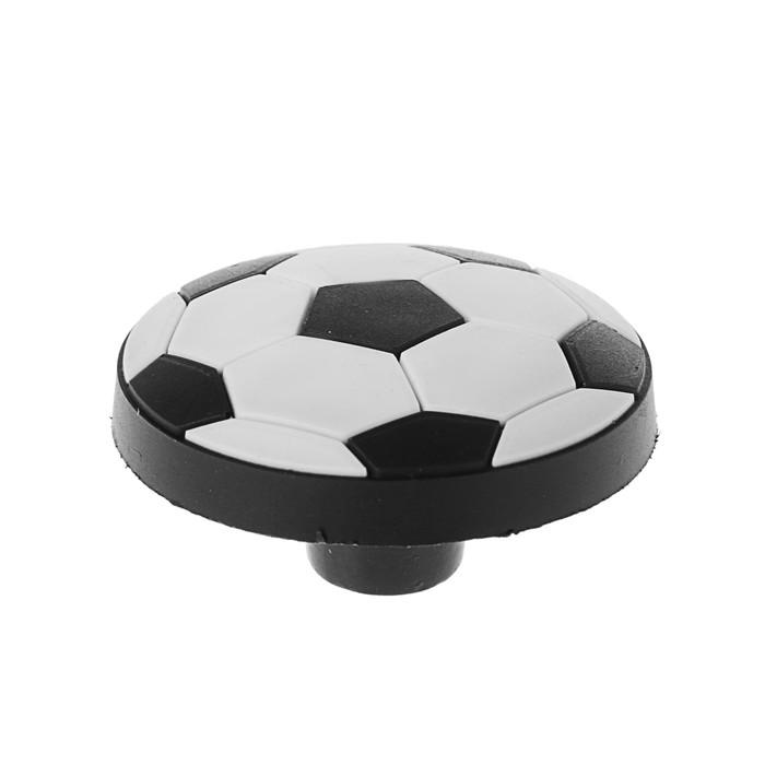 """Ручка кнопка детская KID 014, """"Футбольный мяч"""", резиновая, белая/черная"""