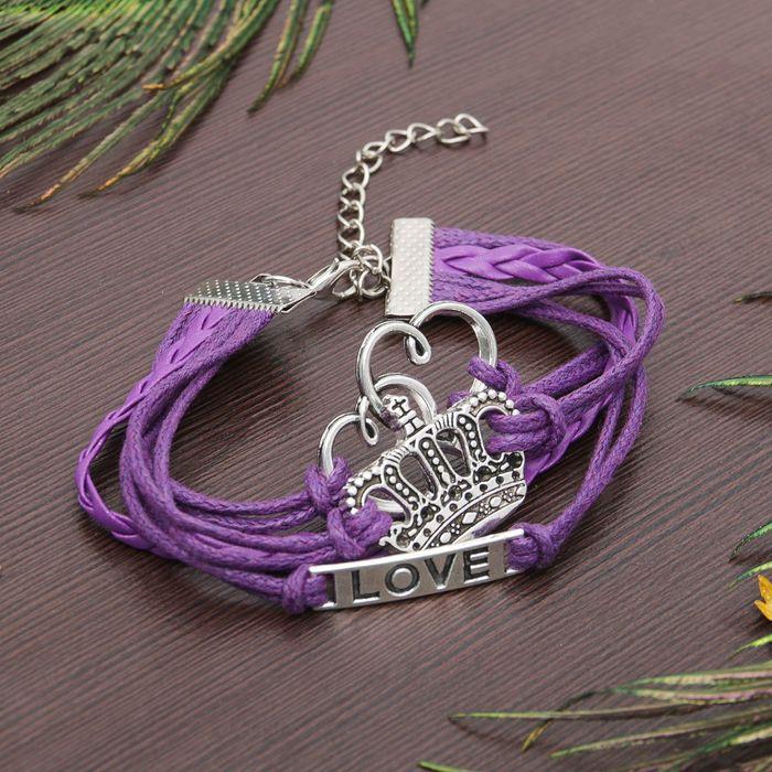 """Браслет """"Магия знаков"""" корона и сердце, цвет фиолетовый"""