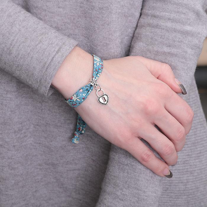 """Браслет ассорти """"Любовь"""" замок, цвет синий в чернёном серебре"""