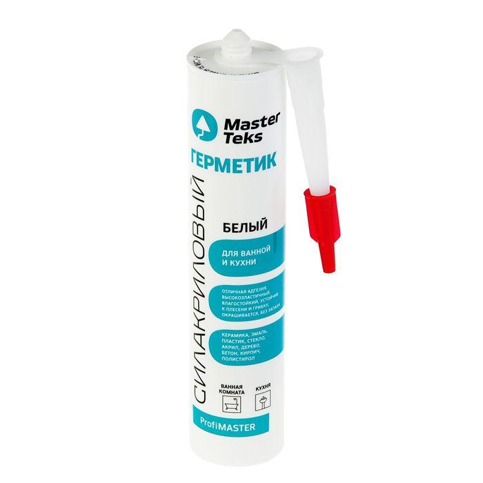 Герметик силакриловый MasterTeks PM, для ванной и кухни, 290 мл, белый