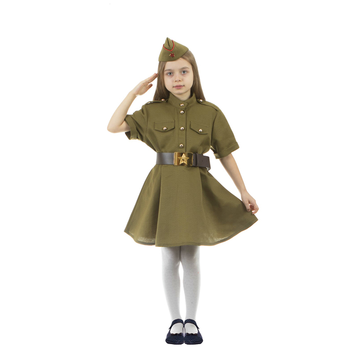 Карнавальный костюм военного: платье с коротким рукавом, пилотка, р-р 30, рост 110-116 см