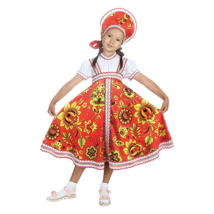 """Русский народный костюм """"Хохлома"""", платье, кокошник, цвет красный, р-р 28, рост 98-104 см"""