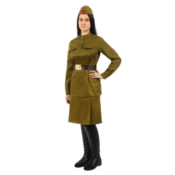 Костюм женский «Военный», гимнастёрка, юбка, ремень, пилотка, 84-92-164, р. 42